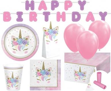 XL 53 Teile Baby Einhorn Geburtstags Party Deko Set für 8 Kinder