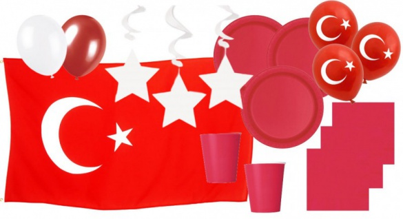 XXL 84 Teile Türkei Party Deko Basis Set 16 Personen