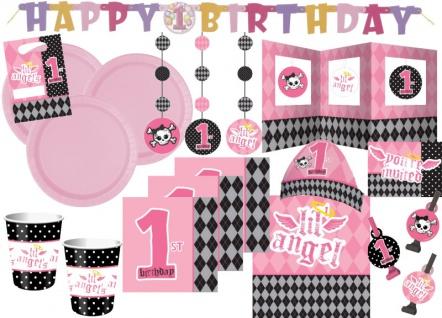 XXL 70 Teile Party Deko Spar Set 1. Geburtstag Angel für 8 Personen
