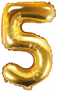 Folienballon Zahl 5 Gold Metallic 35 cm