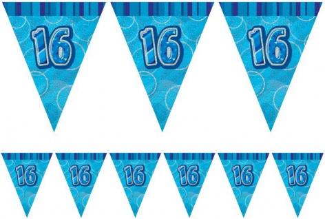 16. Geburtstag Wimpel Girlande Blau