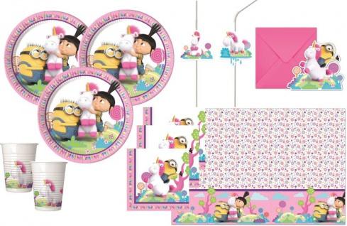 XL 49 Teile Minions Agnes + Fluffy Einhorn Party Deko Set für 6 Kinder