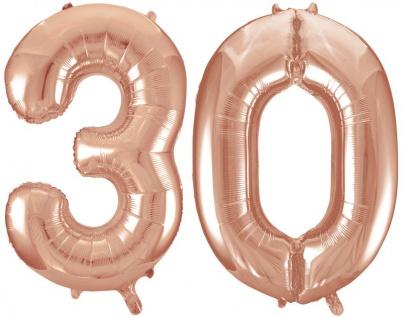 Folien Ballon Zahl 30 in Rosegold - XXL Riesenzahl 86 cm zum 30. Geburtstag