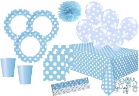 XXL 60 Teile Party Deko Set Hellblau Punkte für 8 Personen