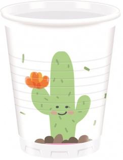 8 Plastik Becher Happy Kaktus Pastell Farben Party
