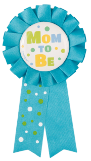 Baby Shower Anstecker Mom to Be in Blau