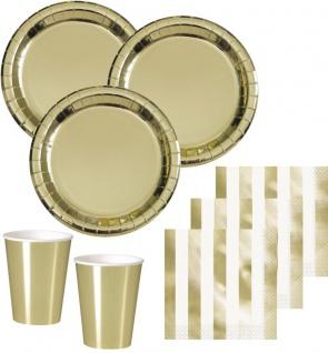 32 Teile Party Deko Set Gold Glanz für 8 Personen - Weihnachten, Silvester