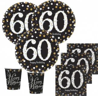 48 Teile zum 60. Geburtstag Gold Glitzer für 16 Personen