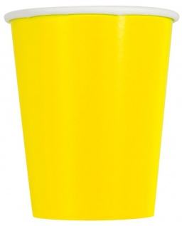 14 Papp Becher Neon Gelb 266ml