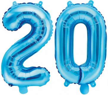 Folienballons Zahl 20 Blau Metallic 35 cm