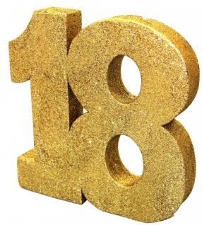 Deko Glitzer Zahl 18. Geburtstag Gold