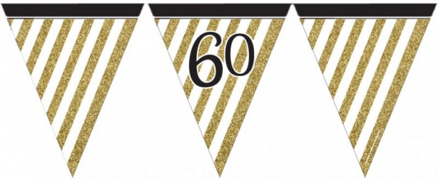 Wimpelkette 60. Geburtstag Black and Gold