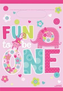 8 Party Tütchen Erster Geburtstag Pink Zoo