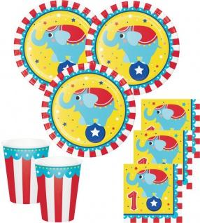 Zirkus Party Set zum 1. Geburtstag für 16 Personen - 48 Teile