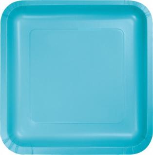 18 kleine quadratische Pappteller Bermuda Blau