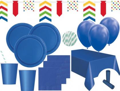 XL 85 Teile Party Deko Set Königs Blau für 16 Personen
