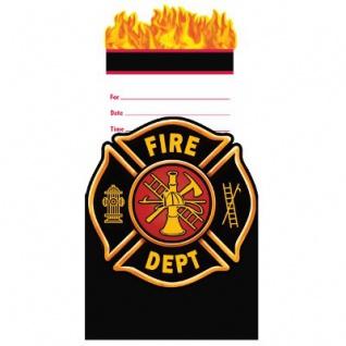 8 Einladungskarten Feuerwehr Alarm