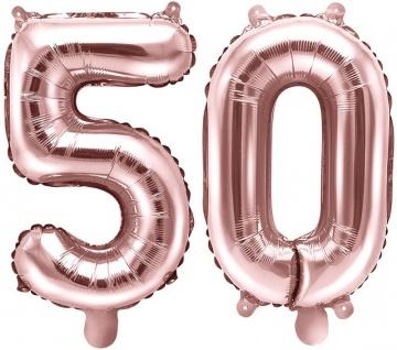 Folienballons Zahl 50 Rosegold Metallic 35 cm
