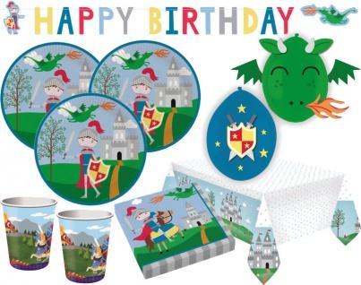 XL 42 Teile kleiner Ritter und Drachen Geburtstags Party Deko Set 8 Personen