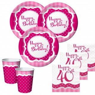 50 Teile zum 40. Geburtstag Perfectly Pink für 16 Personen