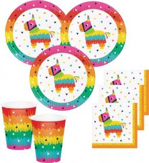 48 Teile buntes Fiesta Fun Party Deko Basis Set für 16 Personen