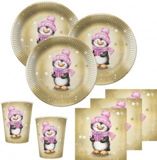 32 Teile Pinguin Mädchen in Rosa und Gold Deko Set für 8 Personen