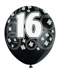 16. Geburtstag Zahlen Ballons Schwarz