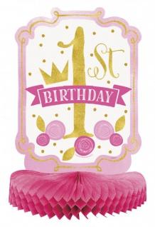 XXL 60 Teile Erster Geburtstag Rosa und Gold Party Deko Set 16 Personen - Vorschau 4