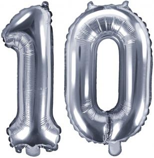 Folienballons Zahl 10 Silber Metallic 35 cm