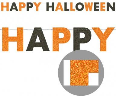 Halloween Glitzer Girlande Schwarz Orange