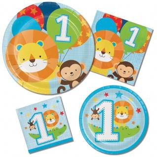 16 kleine Servietten 1. Geburtstag im Zoo Blau - Vorschau 2