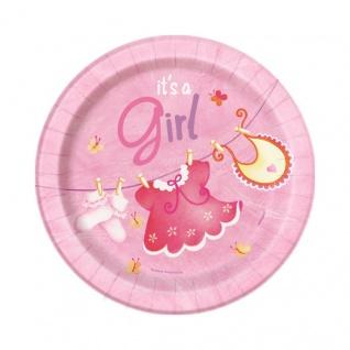 8 kleine Teller Baby Wäscheleine rosa