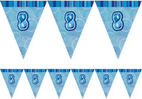 8. Geburtstag Wimpel Girlande Blau