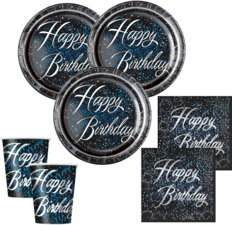 32 Teile edles Party Deko Set Happy Birthday zum Geburtstag in Schwarz Blau Silber foliert für 8 Personen