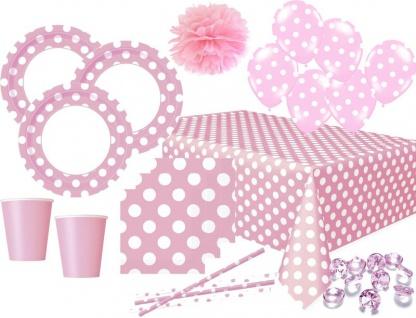 XXL 60 Teile Party Deko Set Baby Rosa Punkte für 8 Personen