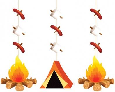 3 hängende Girlanden Lagerfeuer, Zelten und Angeln