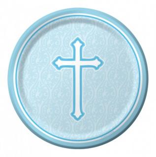 8 kleine Papp Teller blaues Kreuz