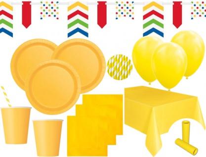 XL 85 Teile Party Deko Set Sonnenblumen Gelb für 16 Personen