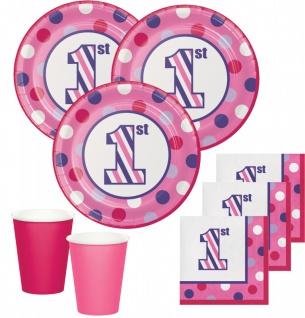 48 Teile Erster Geburtstag Punkte und Streifen Pink Party Deko Set 16 Personen