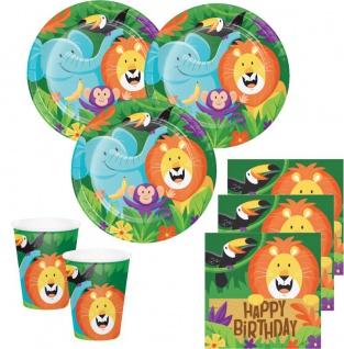 48 Teile fröhliche Dschungel Party Geburtstags Deko Set für 16 Kinder