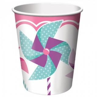 8 Becher 1. Geburtstag Windrad Pink
