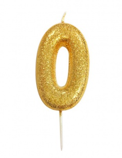 Schimmernde Glitzer Zahlenkerze 0 in Gold