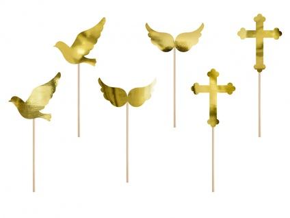 6 goldene Muffin Stecker Kreuz Taube Flügel DIY - Vorschau 1