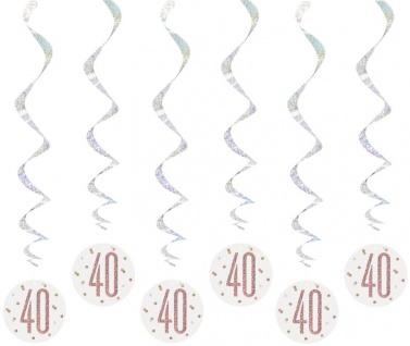 6 hängende Swirl Girlanden Urban Apricot Glitzer in Rosegold zum 40. Geburtstag