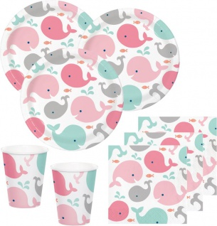 32 Teile Happy Baby Wal Party Set in Rosa für 8 Personen - Ozean