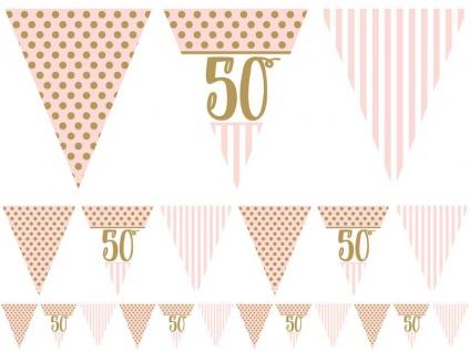 50. Geburtstag Pink Chic Wimpel Girlande 3, 7m