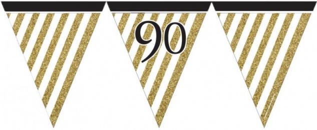 34 Teile Dekorations Set zum 90. Geburtstag oder Jubiläum - Party Deko in Schwarz & Gold - Vorschau 4