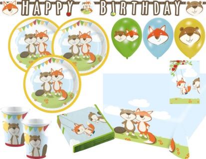 XL 52 Teile Fuchs und Biber Party Deko Set für 8 Kinder
