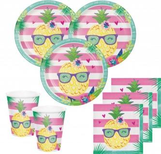 32 Teile Ananas und Freunde Sommer Party Deko Basis Set - für 8 Kinder