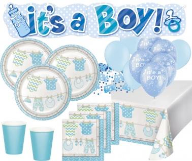 XXL 66 Teile Baby Party Hellblau Babyshower Set für 16 Personen Junge